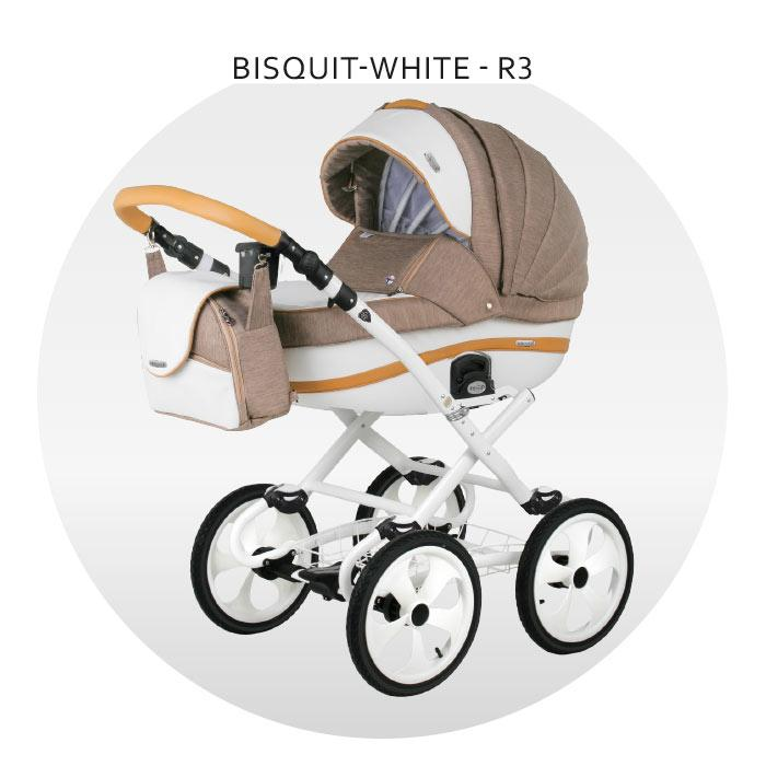 Коляска BeBe-Mobile Ines 2 в 1 (R3 Bisquit-White)